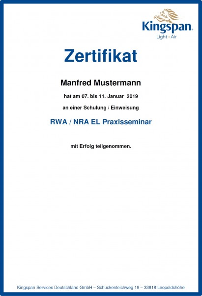 Sachkundeseminar RWA/NRA elektrisch Praxis