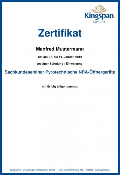 Sachkundeseminar Pyrotechnische NRA-Öffnergeräte